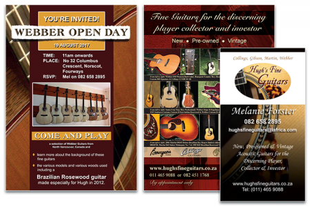 Hugh's Fine Guitars - poster, leaflet and business card